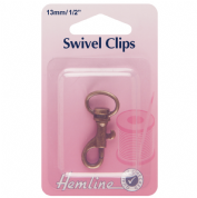 Hemline Swivel Clip - Bronze - 13mm